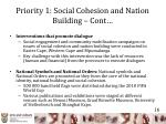 priority 1 social cohesion and nation building cont