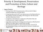 priority 4 development preservation and promotion of arts culture and heritage