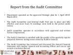 report from the audit committee