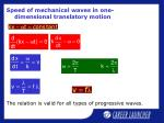 speed of mechanical waves in one dimensional translatory motion