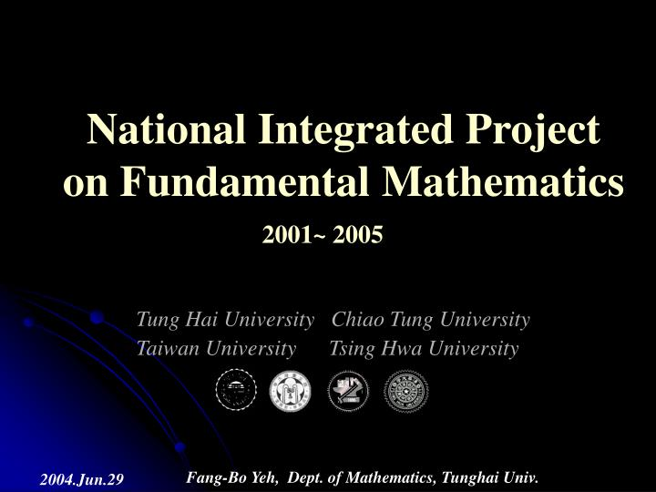 national integrated project on fundamental mathematics n.