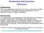 studentship administration definitions