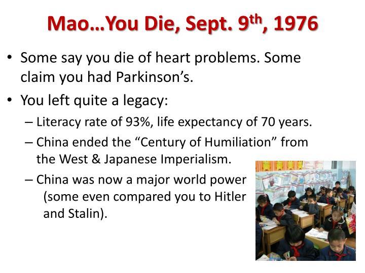 Mao…You Die, Sept. 9