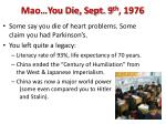 mao you die sept 9 th 1976