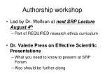 authorship workshop