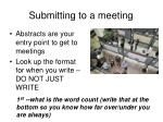 submitting to a meeting