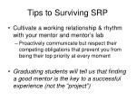 tips to surviving srp1