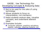 gaise use technology for developing concepts analyzing data
