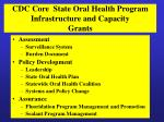 cdc core state oral health program infrastructure and capacity grants
