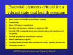 essential elements critical for a vibrant state oral health program