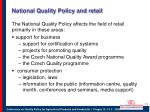 national quality policy and retail