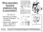what secondary structure prediction tries to accomplish
