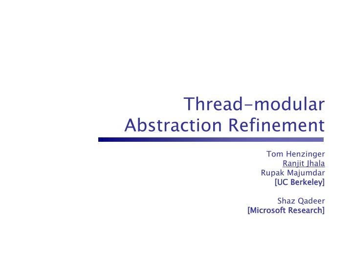 thread modular abstraction refinement n.