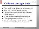 onderwerpen algoritmes