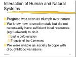 interaction of human and natural systems