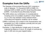 examples from the sars