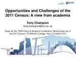 opportunities and challenges of the 2011 census a view from academia