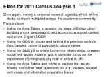 plans for 2011 census analysis 1