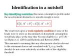 identification in a nutshell1