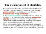 the measurement of eligibility