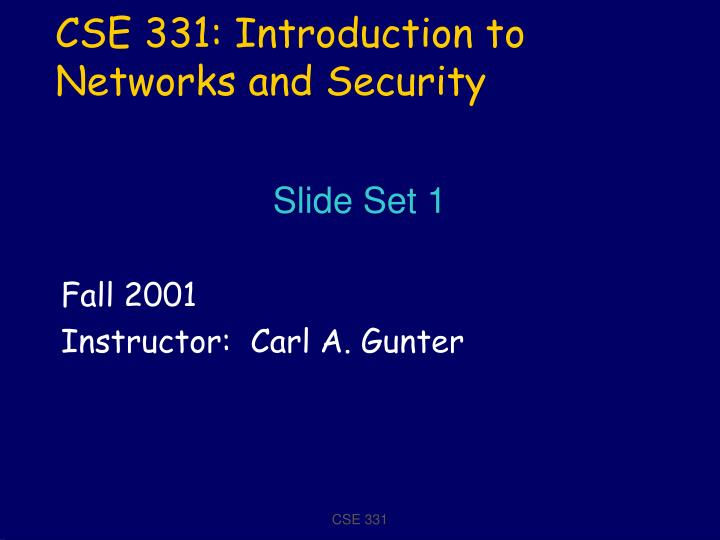 cse 331 introduction to networks and security n.