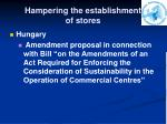 hampering the establishment of stores