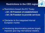 restrictions in the cee region