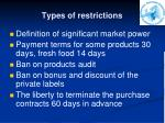 types of restrictions