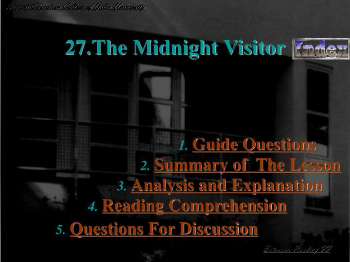 27 the midnight visitor n.