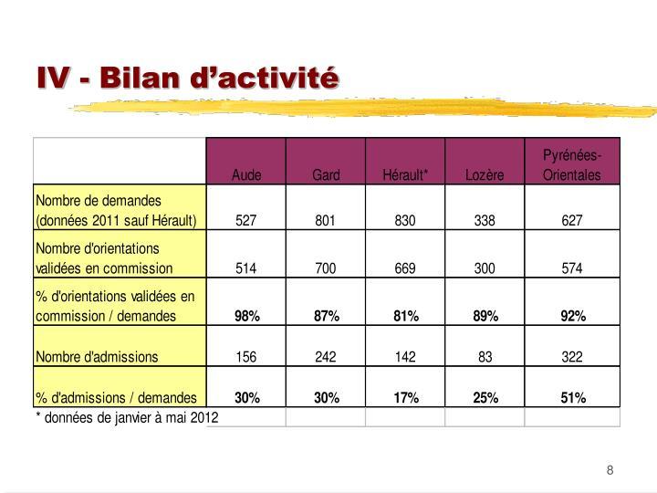 IV - Bilan d'activité