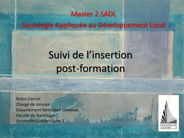 suivi de l insertion post formation n.