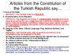 articles from the constitution of the turkish republic say