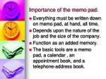 importance of the memo pad