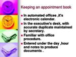 keeping an appointment book