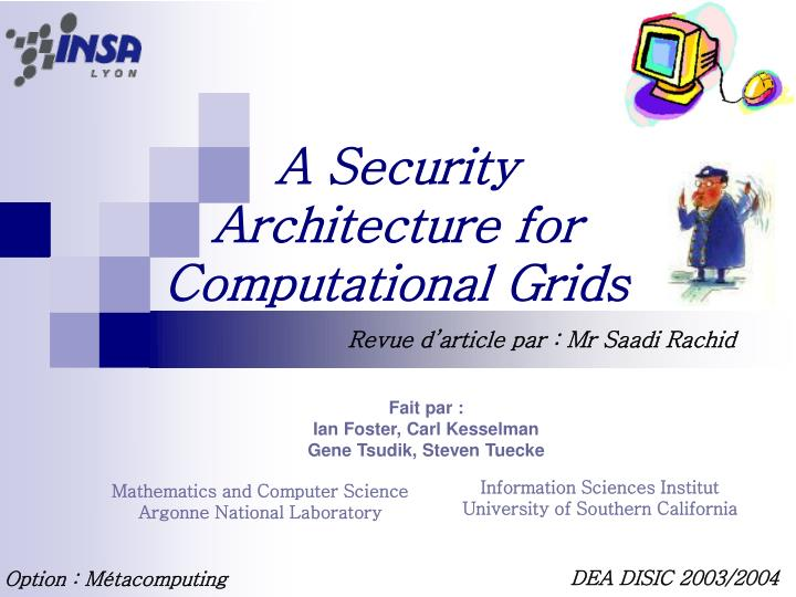 a security architecture for computational grids n.