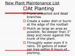 new plant maintenance list