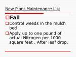 new plant maintenance list2