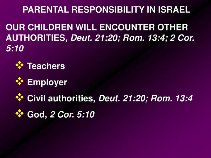 PARENTAL RESPONSIBILITY IN ISRAEL