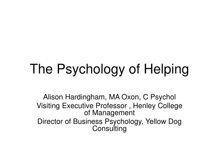 the psychology of helping n.