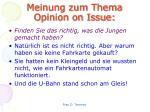 meinung zum thema opinion on issue