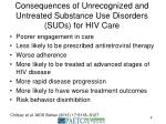 consequences of unrecognized and untreated substance use disorders suds for hiv care