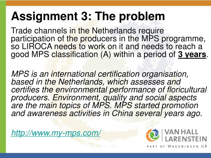 Assignment 3: The problem