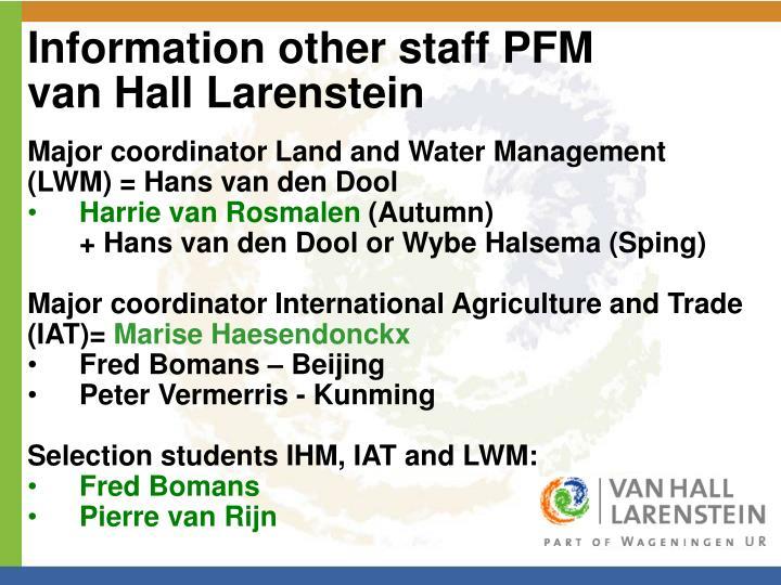 Information other staff pfm van hall larenstein