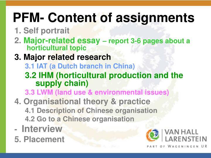 PFM- Content of assignments