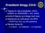 president blogg 2310