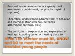 what the teacher must be know and do to meet the needs of troubled young people