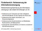 f rderbereich verbesserung der informationsversorgung