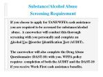 substance alcohol abuse screening requirement