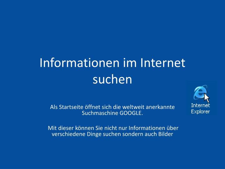 Informationen im Internet suchen