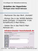 erstellen der hyperlinks e inf gen einer email adresse